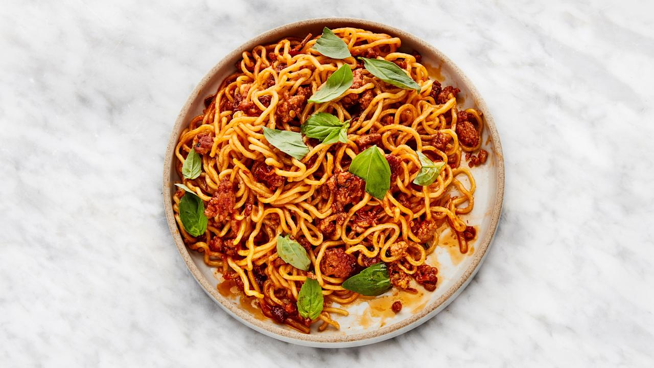 """Your romance meter is at 🔥🔥🔥 this month. You've been more willing to keep an open mind lately, and it's paying off in the love department. And since we want you to keep falling in love, try <a href=""""https://www.bonappetit.com/recipe/spicy-sweet-sambal-pork-noodles?mbid=synd_yahoo_rss"""">Spicy-Sweet Sambal Pork Noodles</a>, nickname: Sambal-ognese. It brings the 🔥🔥🔥   you're feeling this month with a spicy pork sauce, and it can be made with any type of noodle, from ramen to spaghetti (keep an open noodle mind too). <a href=""""https://www.bonappetit.com/recipe/spicy-sweet-sambal-pork-noodles?mbid=synd_yahoo_rss"""">See recipe.</a>"""