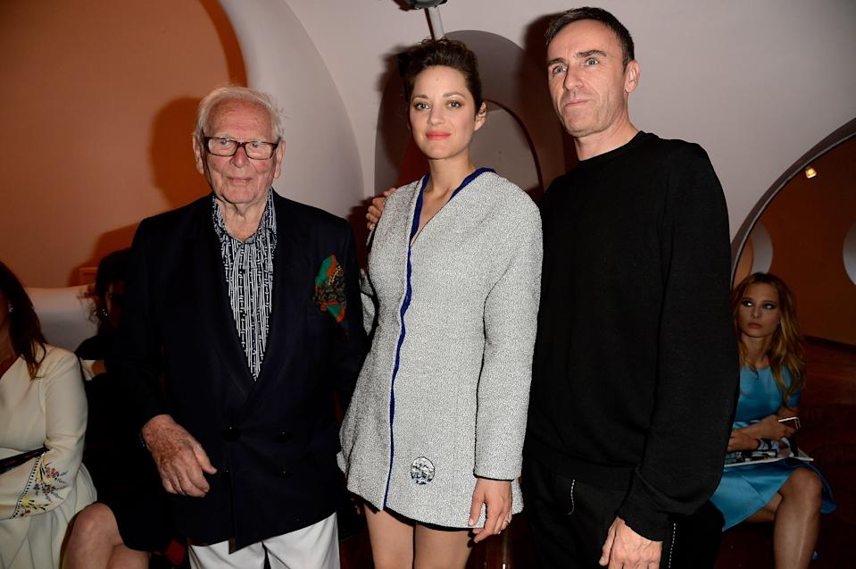 :  Pierre Cardin, Marion Cotillard and Raf Simmons attend the Dior Croisiere 2016 on May 11, 2015 in Theoule sur Mer, France.