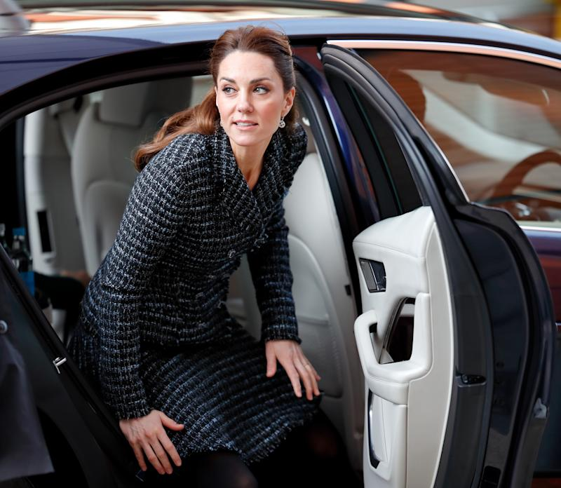 Catherine, Duchess of Cambridge steps out of her chauffeur driven Jaguar I-PACE electric car as she arrives to join a workshop run by the National Portrait Gallery's Hospital Programme at Evelina Children's Hospital on January 28, 2020 in London, England. HRH is Patron of Evelina London Children's Hospital and Patron of the National Portrait Gallery.