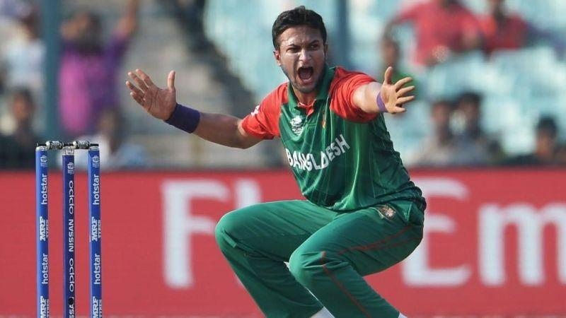 Shakib appealing for a wicket