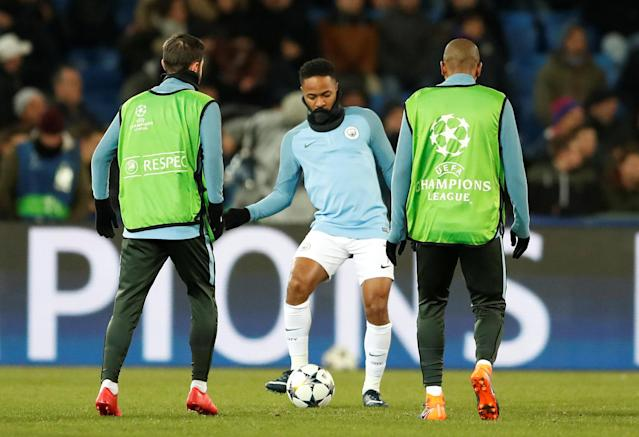 Soccer Football - Champions League - Basel vs Manchester City - St. Jakob-Park, Basel, Switzerland - February 13, 2018 Manchester City's Raheem Sterling warms up before the match Action Images via Reuters/Andrew Boyers