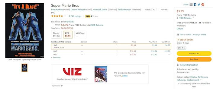 """An Amazon listing for the """"Super Mario Bros."""" movie on DVD."""