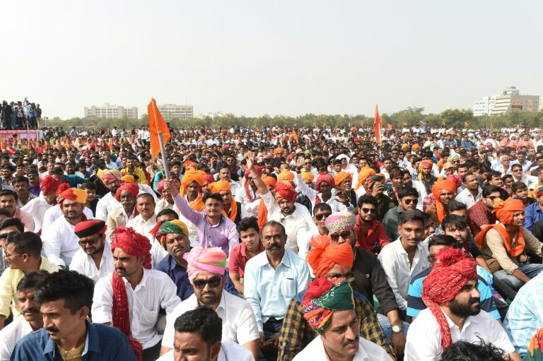 Supporters of Rajput Karni Sena shout slogans during a protest in Gandhinagar on November 12 against the film