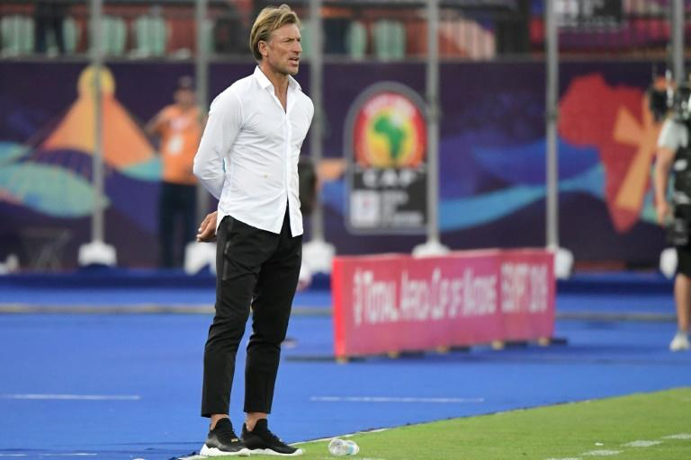Morocco coach Herve Renard watches an Africa Cup of Nations Group D match against Namibia in Cairo