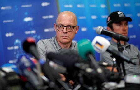 Cycling - Tour de France - Team Sky News Conference - Saint-Mars-la-Reorthe, France - July 4, 2018 - Team Sky manager Dave Brailsford attends a news conference. REUTERS/Benoit Tessier