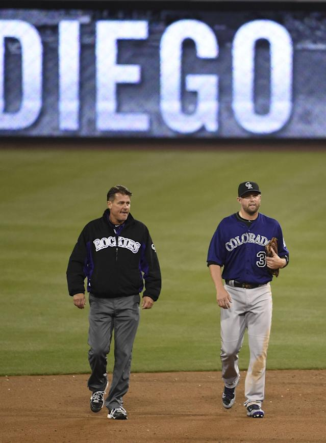 SAN DIEGO, CA - APRIL 14: Michael Cuddyer #3 of the Colorado Rockies, right, leaves the game with a trainer after falling trying to make a catch on a triple hit by Alexi Amarista #5 of the San Diego Padres during the fifth inning of a baseball game at Petco Park April 14, 2014 in San Diego, California. (Photo by Denis Poroy/Getty Images)