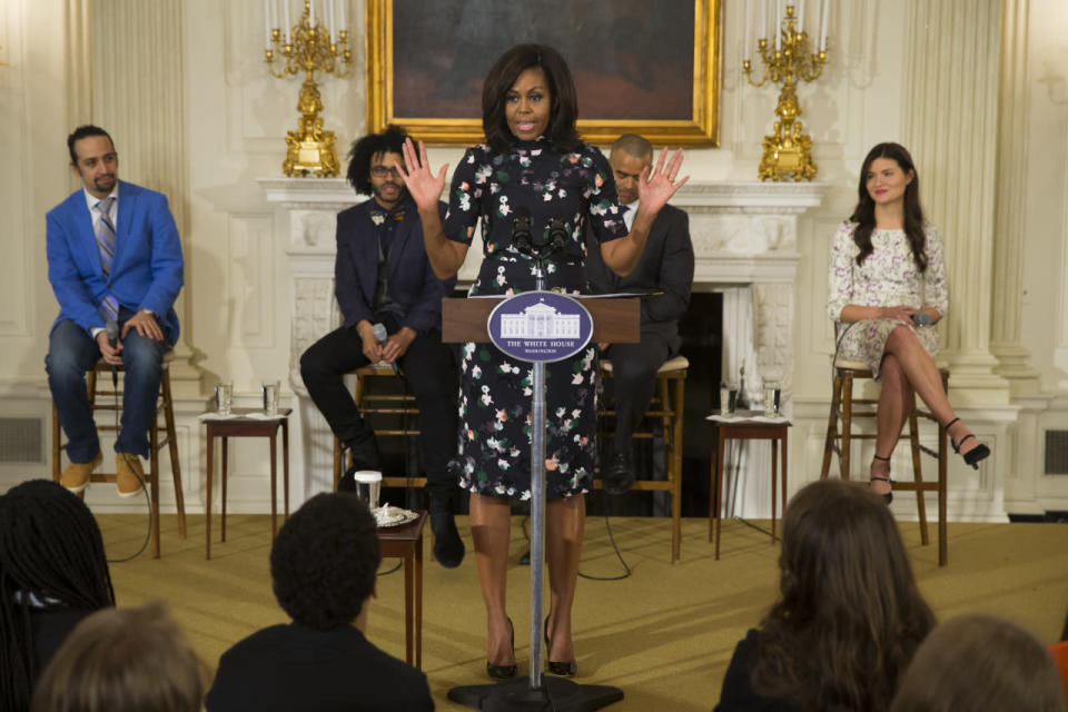 <p>Michelle Obama gave her best jazz hands for <i>Hamilton.</i> And if the the fingers weren't enough, FLOTUS also dressed in a fun sheath for the occasion, emoting even more excitement. <i>Photo: AP</i></p>