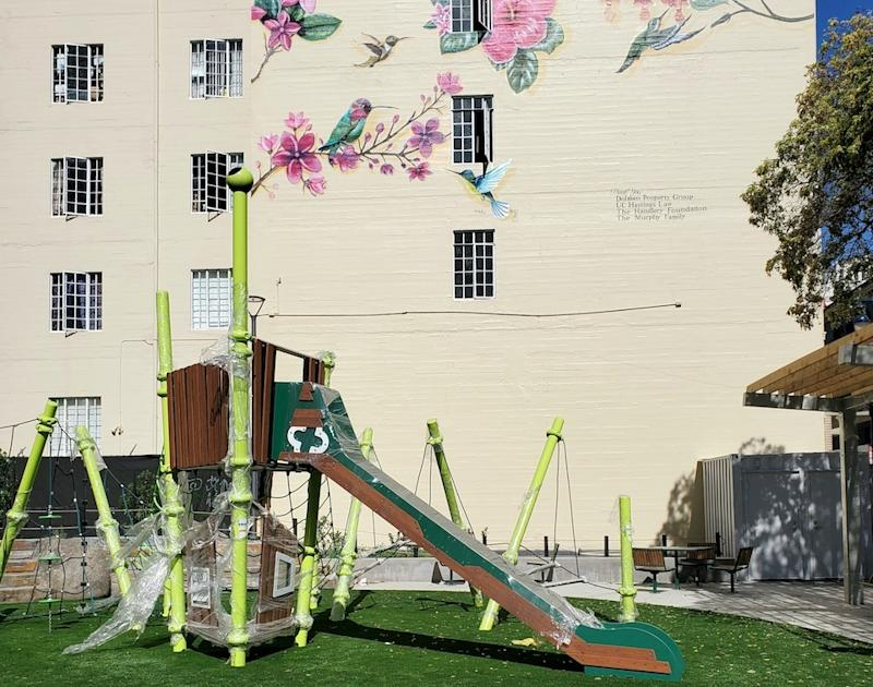 The Turk-Hyde Mini Park's new play structures and seating areas.