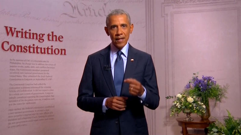 Former President Barack Obama speaks during the virtual Democratic National Convention on August 19, 2020. (via Reuters TV)