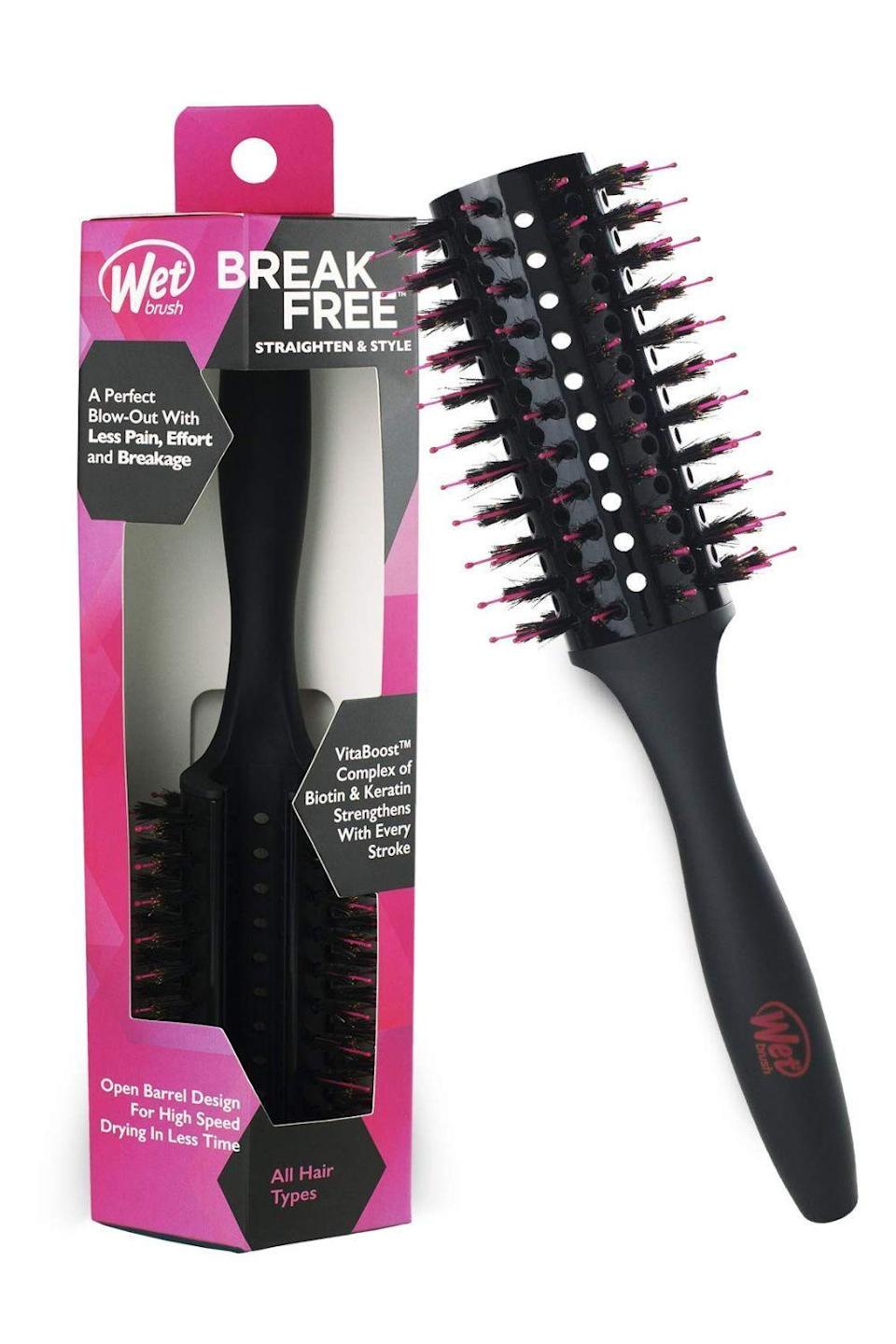 "<p><strong>Wet Brush</strong></p><p>amazon.com</p><p><strong>$16.99</strong></p><p><a href=""https://www.amazon.com/dp/B088HBNWSF?tag=syn-yahoo-20&ascsubtag=%5Bartid%7C10049.g.36119945%5Bsrc%7Cyahoo-us"" rel=""nofollow noopener"" target=""_blank"" data-ylk=""slk:Shop Now"" class=""link rapid-noclick-resp"">Shop Now</a></p><p>Finding the right size <a href=""https://www.cosmopolitan.com/style-beauty/beauty/g30017766/best-hair-brushes/"" rel=""nofollow noopener"" target=""_blank"" data-ylk=""slk:hairbrush"" class=""link rapid-noclick-resp"">hairbrush</a> for styling your bangs takes a little experimentation, but <strong>this round <a href=""https://www.cosmopolitan.com/style-beauty/beauty/g26986683/best-detangling-brush/"" rel=""nofollow noopener"" target=""_blank"" data-ylk=""slk:detangling brush"" class=""link rapid-noclick-resp"">detangling brush</a> is a good place to start for both straightening bangs and adding volume</strong>. If you want the outside pieces to flip away from your face, place the brush on top of your bangs and style it back, or if you want them in the direction toward your face, place the round brush underneath and rotate the brush forward. Once dry, use your fingers to shake them out and split them to each side like *ahem* curtains.</p>"