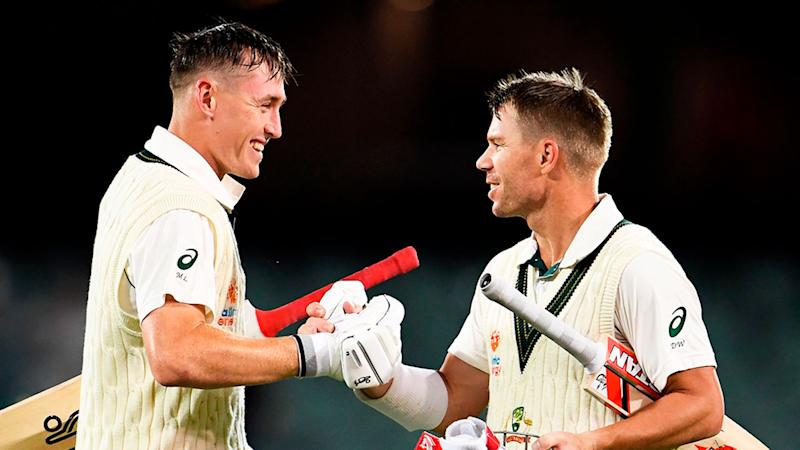 Seen here, Marnus Labuschagne David Warner blasted their way into the record books against Pakistan.