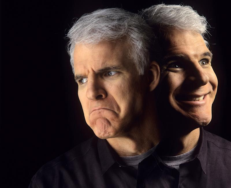 "SANTA BARBARA, CA - JANUARY 1992: Comedian Steve Martin poses for photos on January 1992 in Santa Barbara, California. Martin gained much notority in the mid-1970's when he made frequent appearances on Saturday Night Live and The Tonight Show wih Johnny Carson. Martin won two Grammy Awards for Best Comedy Albums, ""Let's Get Small"" in 1978, and ""A Wild and Crazy Guy"" in 1979. (Photo by Joe McNally/Getty Images)"