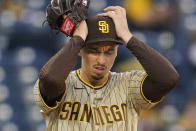San Diego Padres starting pitcher Blake Snell collects himself between pitch during the first inning of a baseball game against the Pittsburgh Pirates in Pittsburgh, Tuesday, April 13, 2021. (AP Photo/Gene J. Puskar)