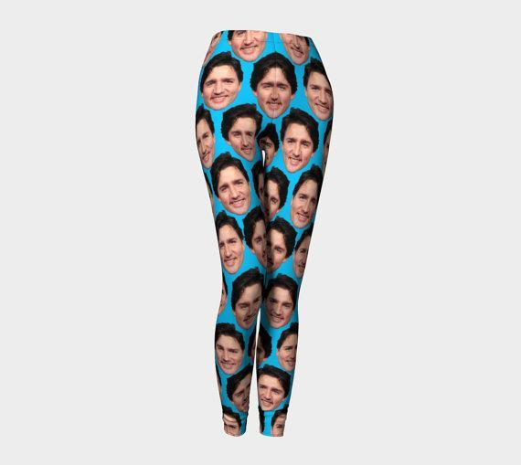 """<p>Whether working out or washing dishes around the house, these Justin Trudeau leggings can make a bold statement. The spandex bottoms are printed and sewn by hand in Canada. <a href=""""http://etsy.me/2gf61Xx"""" rel=""""nofollow noopener"""" target=""""_blank"""" data-ylk=""""slk:Etsy"""" class=""""link rapid-noclick-resp"""">Etsy</a> </p>"""