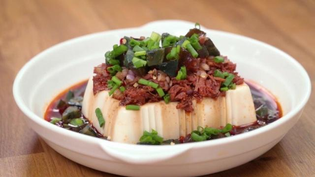 Century egg tofu with spicy canned pork cubes