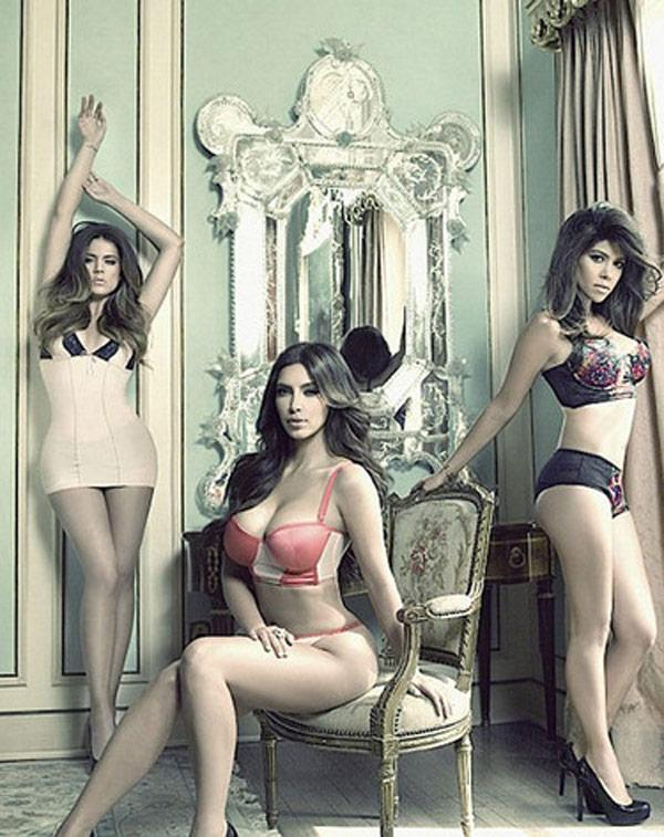 Kim, Kourtney & Khloe Kardashian In Lingerie From Kardashian Kollection