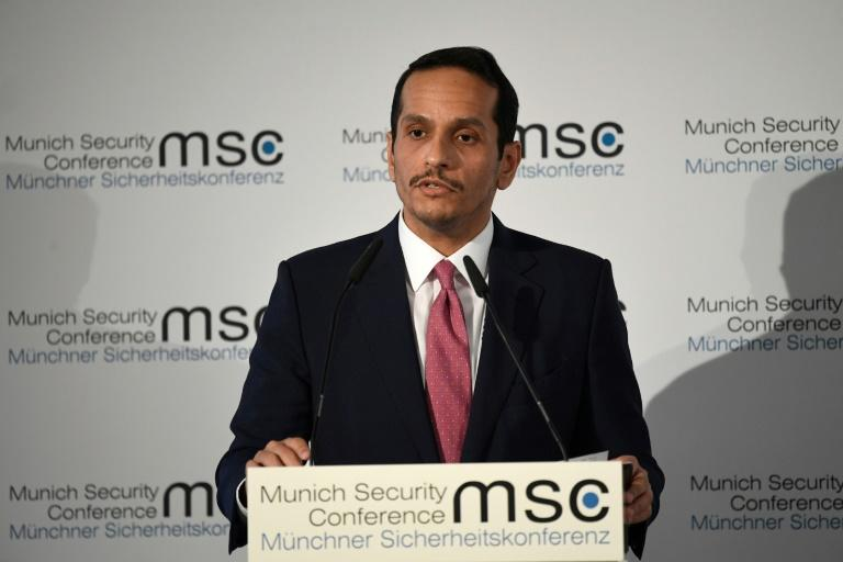 Qatar's Foreign Minister Sheikh Mohammed bin Abdulrahman Al-Thani speaks during the 56th Munich Security Conference (AFP Photo/Thomas KIENZLE)