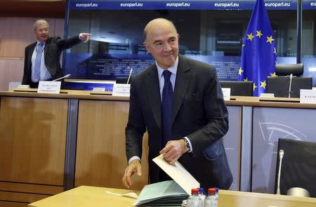 European Economic and Financial Affairs, Taxation and Customs Union Commissioner-designate Pierre Moscovici of France arrives at his hearing before the European Parliament's Committee on Economic and Monetary Affairs at the EU Parliament in Brussels October 2, 2014.    REUTERS/Francois Lenoir