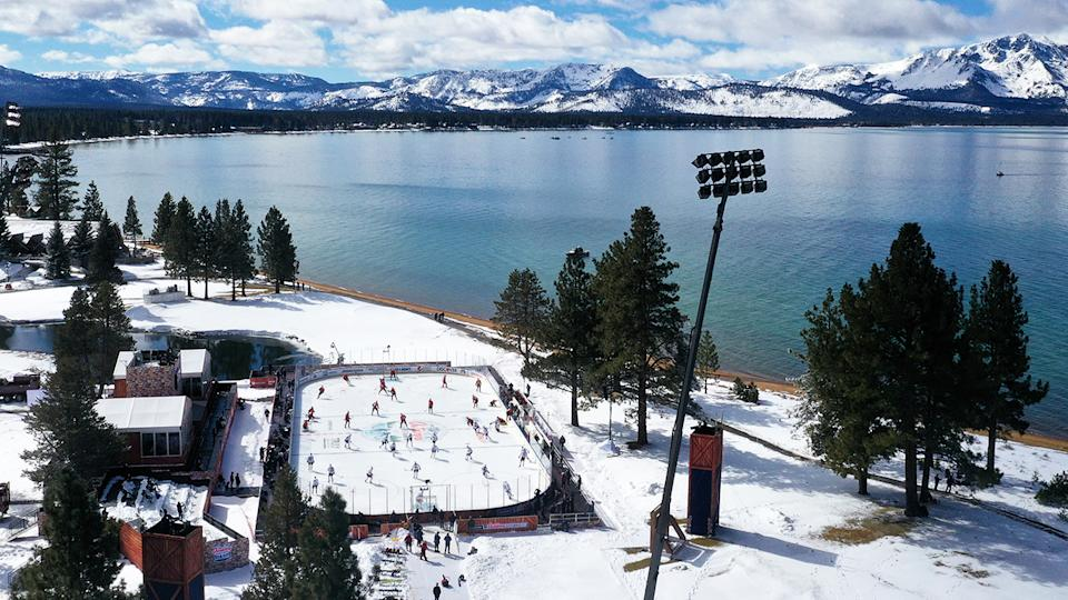 The NHL Outdoors game, pictured here at Lake Tahoe.