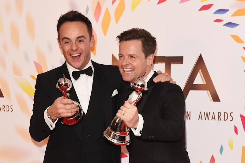 LONDON, ENGLAND - JANUARY 28: Anthony McPartlin and Declan Donnelly, winners of the Best TV Presenter award, pose in the winners room at the National Television Awards 2020 at The O2 Arena on January 28, 2020 in London, England. (Photo by David M. Benett/Dave Benett/Getty Images)