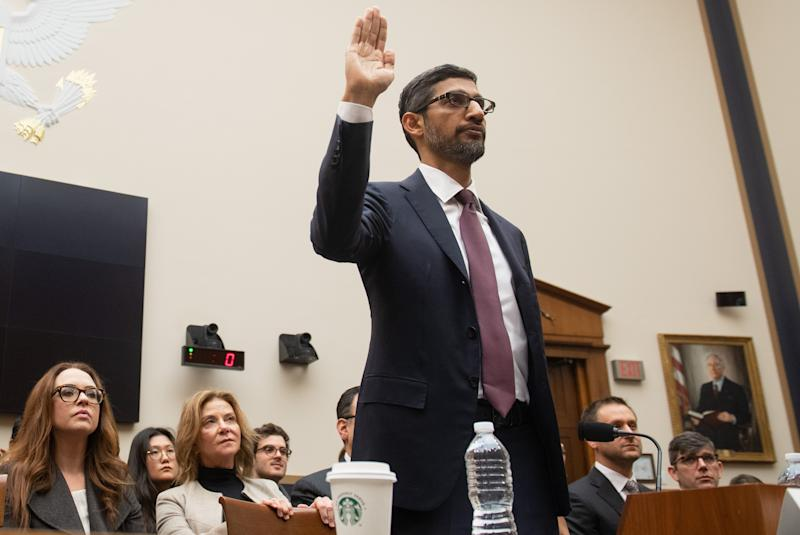 Google CEO Sundar Pichai, sworn, during his testimony at a hearing of the House of Representatives Judiciary Committee at Capitol Hill, Washington, DC, December 11, 2018. - Google President, Sundar Pichai, will be criticized by US lawmakers for charges of