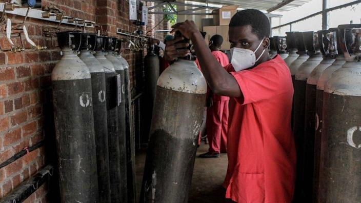 An oxygen refilling centre in Harare