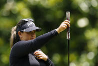 Lizette Salas of the U.S. lines up a putt on the second hole, during the final round of play in the KPMG Women's PGA Championship golf tournament Sunday, June 27, 2021, in Johns Creek, Ga. (AP Photo/John Bazemore)
