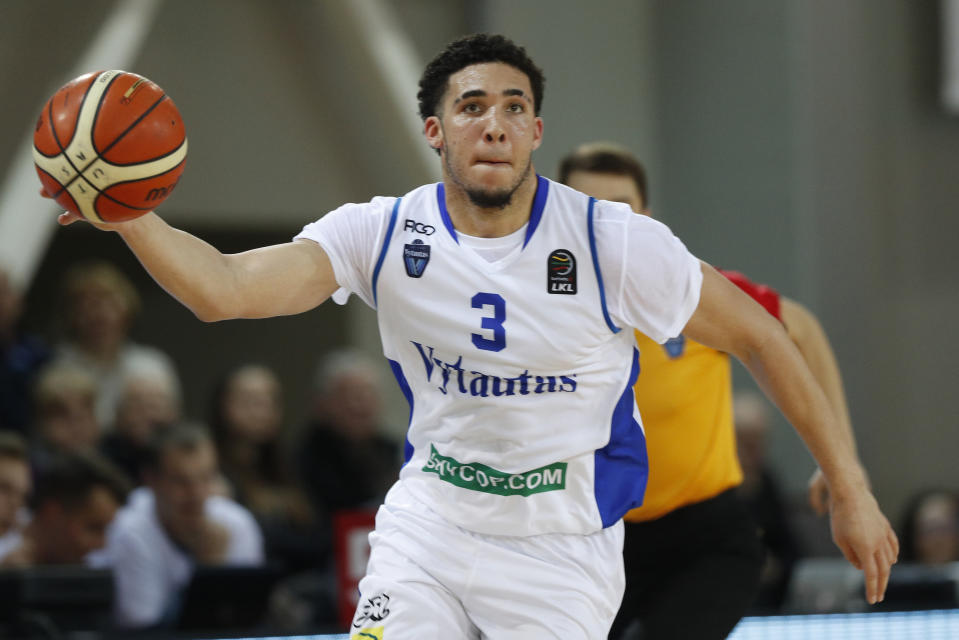 LiAngelo Ball, 19, has formally submitted early-entry paperwork to enter the June draft. (AP)