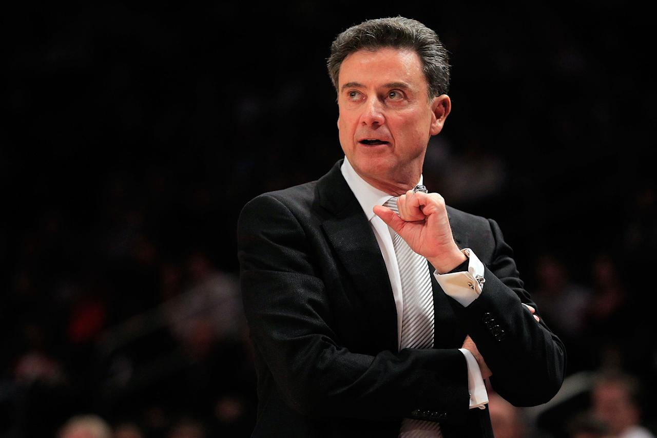 NEW YORK, NY - MARCH 07:  Head coach Rick Pitino  of the Louisville Cardinals shouts from the sidelines against the Seton Hall Pirates during their second round game of the Big East Men's Basketball Tournament at Madison Square Garden on March 7, 2012 in New York City.  (Photo by Chris Trotman/Getty Images)