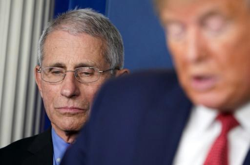 """The small studies carried out so far amount to """"anecdotal"""" evidence, said Anthony Fauci, head of infectious diseases at the US National Institutes of Health - here with President Donald Trump"""