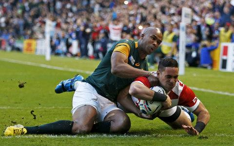Carla's fiancé Karne Hesketh scores the memorable try for Japan which beat the Springboks in the 2015 World Cup - Credit: Eddie Keogh/Reuters