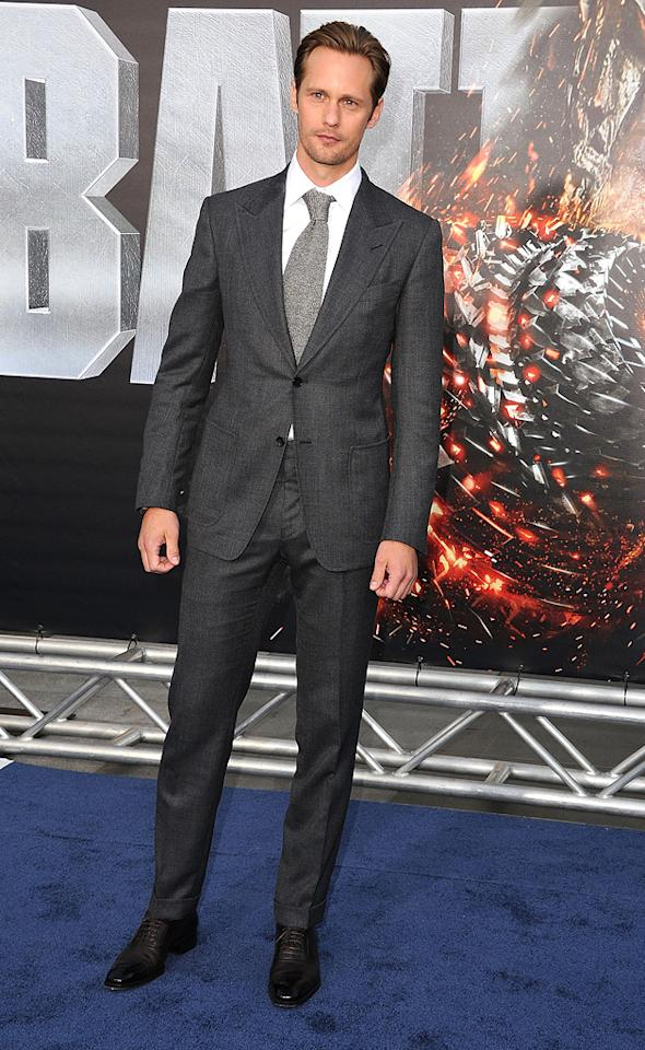"Alexander Skarsgard attends the Los Angeles premiere of ""Battleship"" on May 10, 2012."