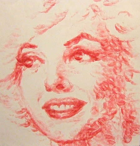 """This portrait of Marilyn Monroe was also created by what the artist calls """"lip print"""". (Photo: Dennis Bateman)"""