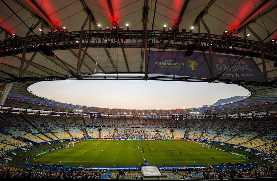 General view of the Maracana stadium taken during the Copa America football tournament group match between Paraguay and Qatar, in Rio de Janeiro, Brazil, on June 16, 2019. - In the country of 'jogo bonito', the Copa America 2019 started with depopulated stands. High prices for a public in crisis, the accumulation of editions of the continental tournament and a World Cup of Russia-2018 that emptied wallets, threaten the event. (Photo by Mauro PIMENTEL / AFP)        (Photo credit should read MAURO PIMENTEL/AFP via Getty Images)