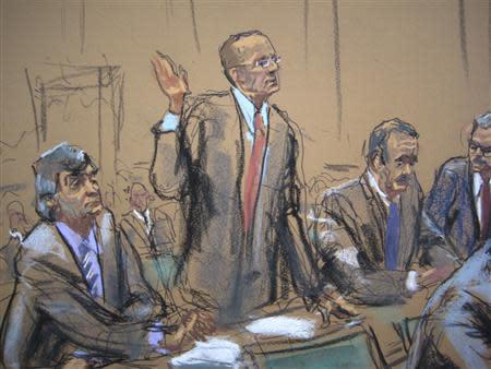 An artist's sketch of general councel Peter Nussbaum, representing SAC Capital Advisors hedge fund pleading guilty to fraud charges in New York