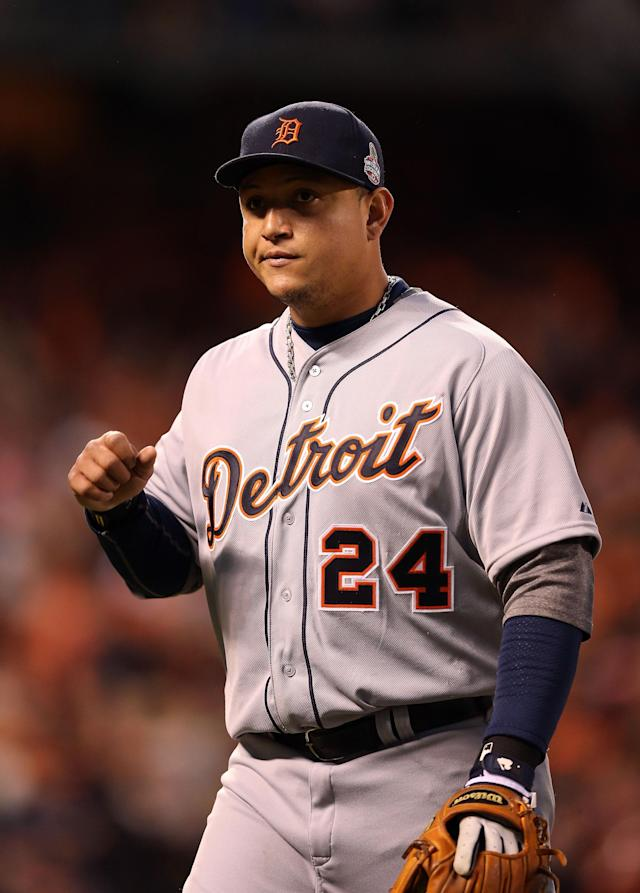 SAN FRANCISCO, CA - OCTOBER 24: Miguel Cabrera #24 of the Detroit Tigers looks on against the San Francisco Giants during Game One of the Major League Baseball World Series at AT&T Park on October 24, 2012 in San Francisco, California. (Photo by Christian Petersen/Getty Images)