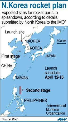 Map showing the expected splashdown points of two stages of North Korea's planned rocket launch in April, according to details submitted to the International Maritime Organization