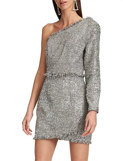 Lioness silver sparkle cocktail Christmas summer party dress