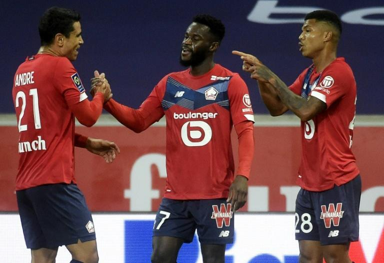 Jonathan Bamba (C) put Lille ahead but they had to settle for a share of the points against a resurgent Lyon