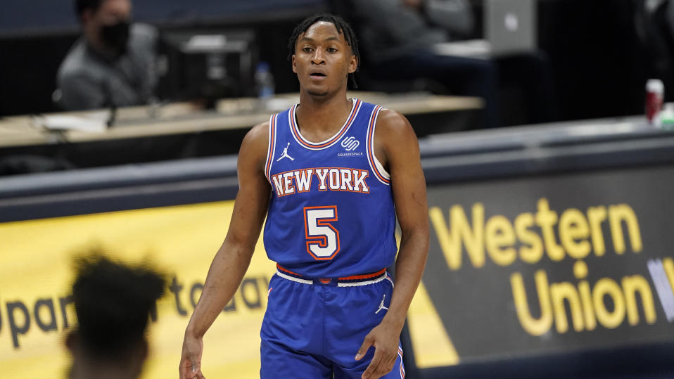 New York Knicks guard Immanuel Quickley (5) in the second half of an NBA basketball game Wednesday, May 5, 2021, in Denver. The Nuggets won 113-97. (AP Photo/David Zalubowski)
