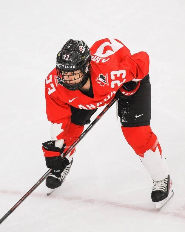 Canada's Erin Ambrose in action during the IIHF Women's World Championship gold-medal game against the United States in August. (Derek Leung/Getty Images - image credit)