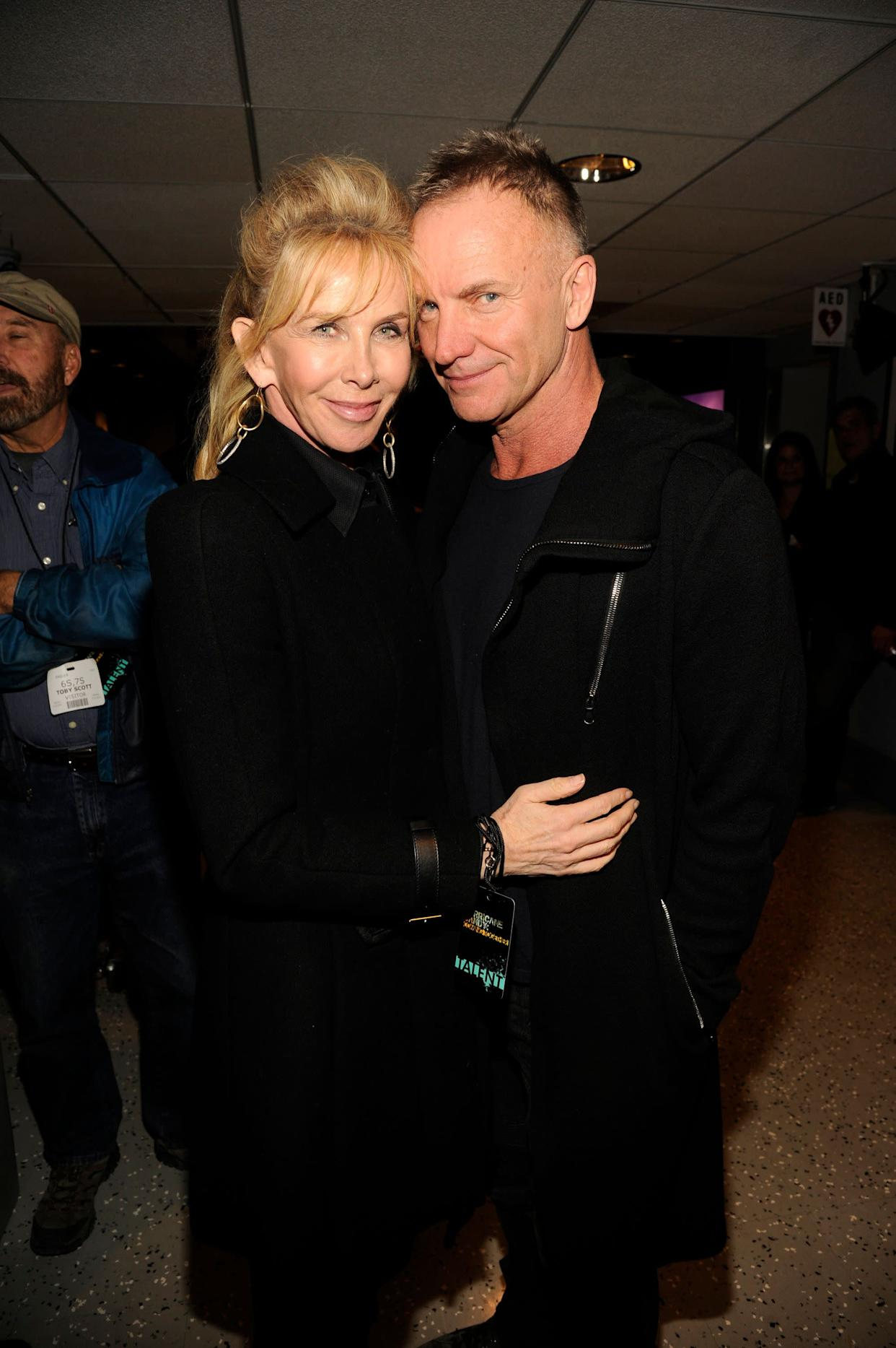 """Sting loves to romance his wife Trudie Syler. """"There's a playfulness we have; I like the theater of sex,"""" <a href=""""http://www.harpersbazaar.com/fashion/fashion-articles/sting-trudie-styler-interview-0211?click=main_sr"""" rel=""""nofollow noopener"""" target=""""_blank"""" data-ylk=""""slk:he told Harper's Bazaar."""" class=""""link rapid-noclick-resp"""">he told Harper's Bazaar.</a> """"I like to look good. I like her to dress up. I like to dress her up."""""""