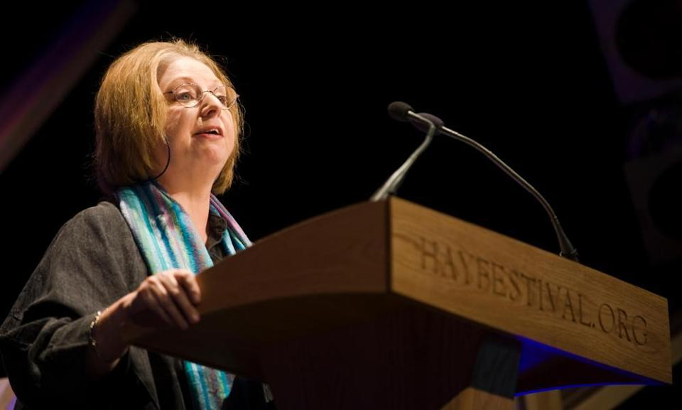 Hilary Mantel speaking  at the Hay festival