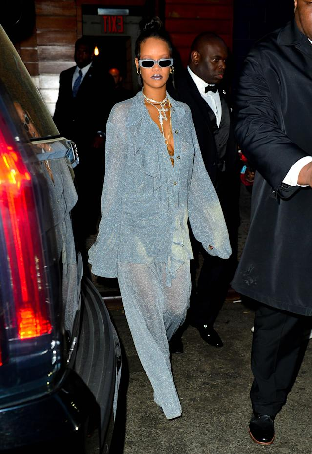 <p>Rihanna spotted out at Met Gala after party at Up & Down<br> (Photo: Splash News) </p>