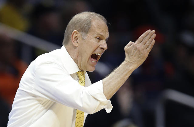 Michigan coach John Beilein yells to his team during the second half of an NCAA men's college basketball tournament regional semifinal against Texas A&M on Thursday, March 22, 2018, in Los Angeles. (AP Photo/Alex Gallardo)