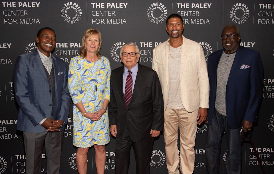 Isaiah Thomas, Jackie MacMullan, David Stern, Jalen Rose and Earl Monroe (from left to right) attend a screening of