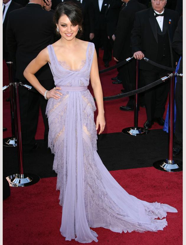 Oscars 2011 photos: Lace and lilac were what made Mila Kunis stand out in her Ellie Saab frock.