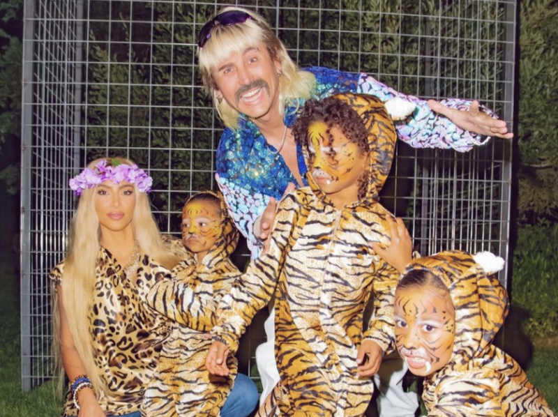 "Kim Kardashian's costume was inspired by ""Tiger King."" (Photo: Instagram)"