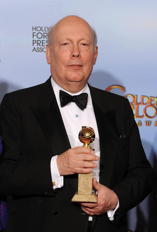 BEVERLY HILLS, CA - JANUARY 15:  Executive producer Julian Fellowes poses in the press room with the Best Mini-Series or Motion Picture Made for Television for 'Downtown Abbey' at the 69th Annual Golden Globe Awards held at the Beverly Hilton Hotel on January 15, 2012 in Beverly Hills, California.  (Photo by Kevin Winter/Getty Images)
