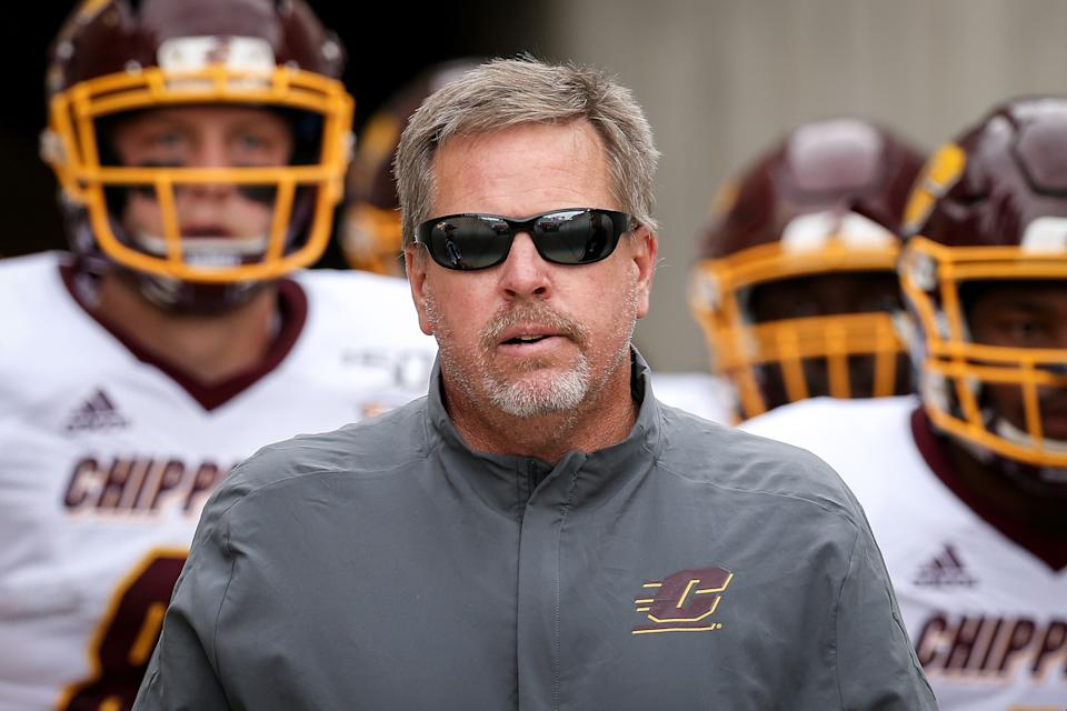 MADISON, WISCONSIN - SEPTEMBER 07:  Head coach Jim McElwain of the Central Michigan Chippewas walks to the field with his team before the game against the Wisconsin Badgers at Camp Randall Stadium on September 07, 2019 in Madison, Wisconsin. (Photo by Dylan Buell/Getty Images)